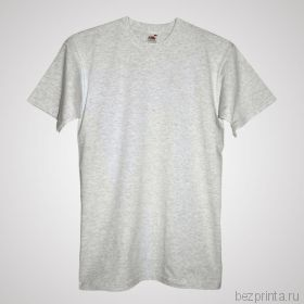Мужская пепельная футболка без рисунка FRUIT OF THE LOOM