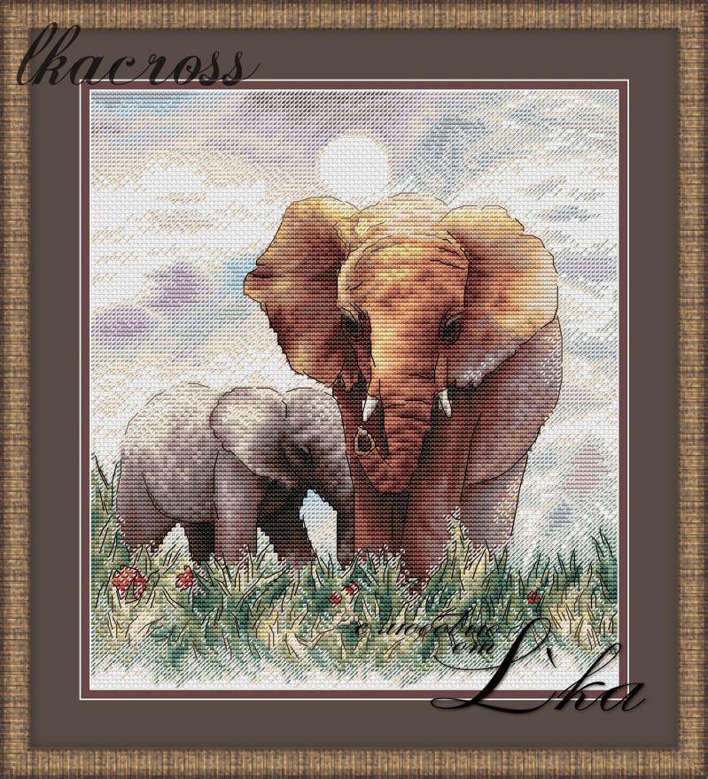 """""""Слоны"""".  Схема/набор для вышивания крестиком."""