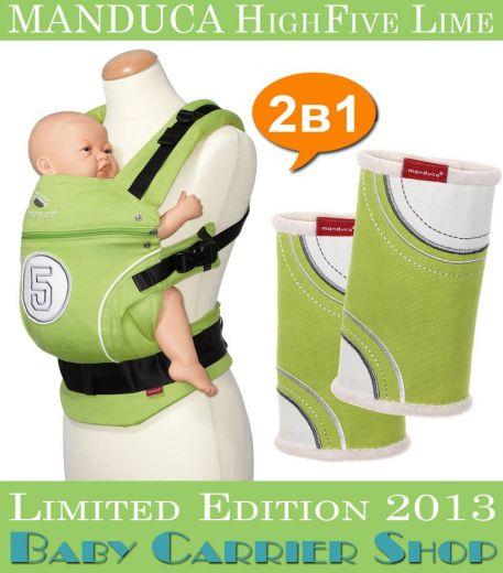 Комплект 2в1 MANDUCA LimitedEditions HighFive Lime «Слинг-рюкзак Baby Carrier + Накладки на ремни Fumbee» [Мандука набор эргорюкзак+накладки Лайм]