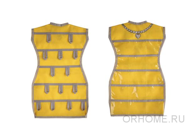 """Подвесной органайзер для украшений """"Маленькое платье с бусами"""" 45*26 см"""