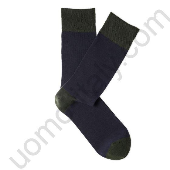 Носки Tezido синие с серой пяткой, мыском и резинкой