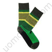 Носки Tezido графитовые с желто-зеленой полосой