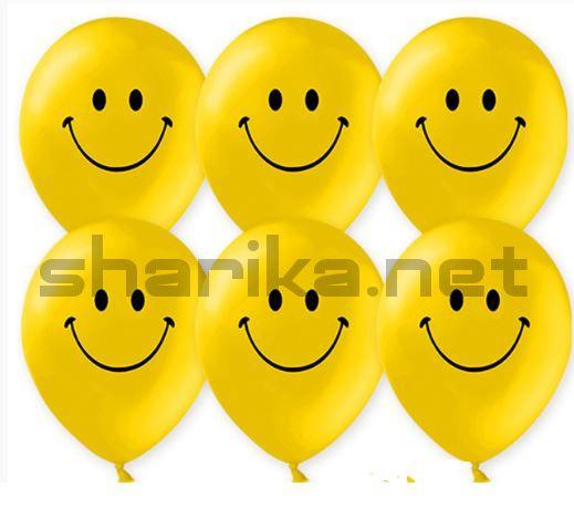 Шар (12''/30 см) Смайл (классический), Желтый, пастель