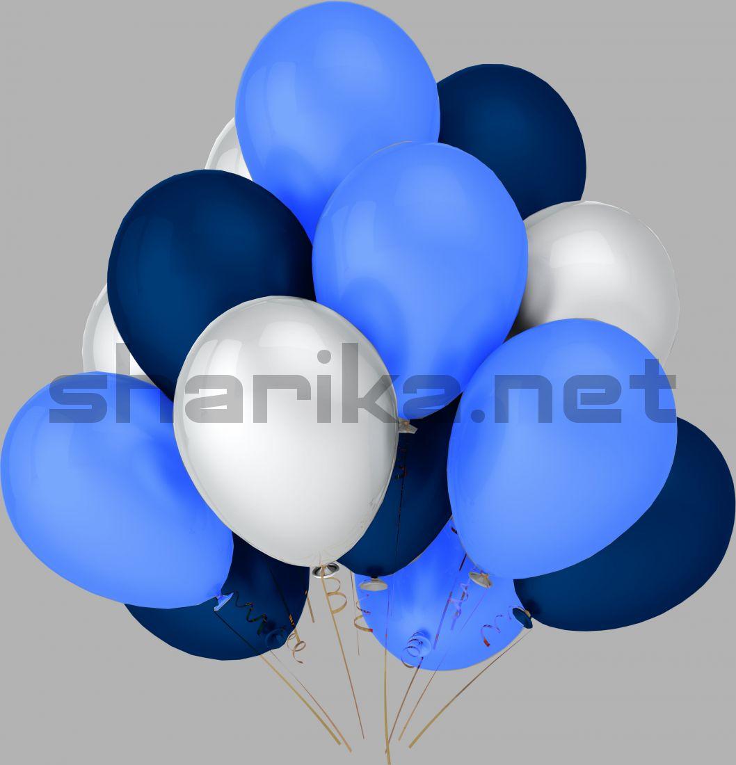 Облако воздушных шариков (12''/30 см) Голубой и синий и белый