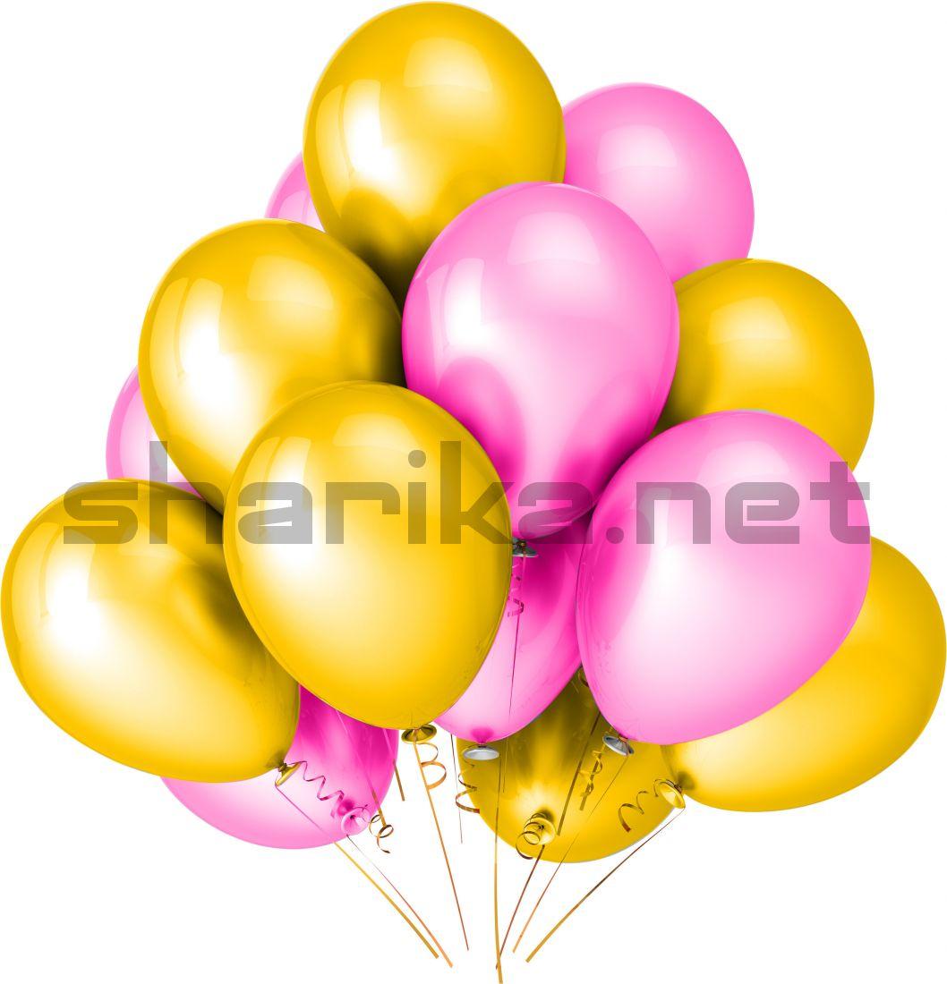 Облако воздушных шариков (12''/30 см) Желтый и розовый