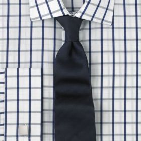 Рубашка мужская под запонки белая в темно-синюю клетку T.M.Lewin приталенная Slim Fit (46277)