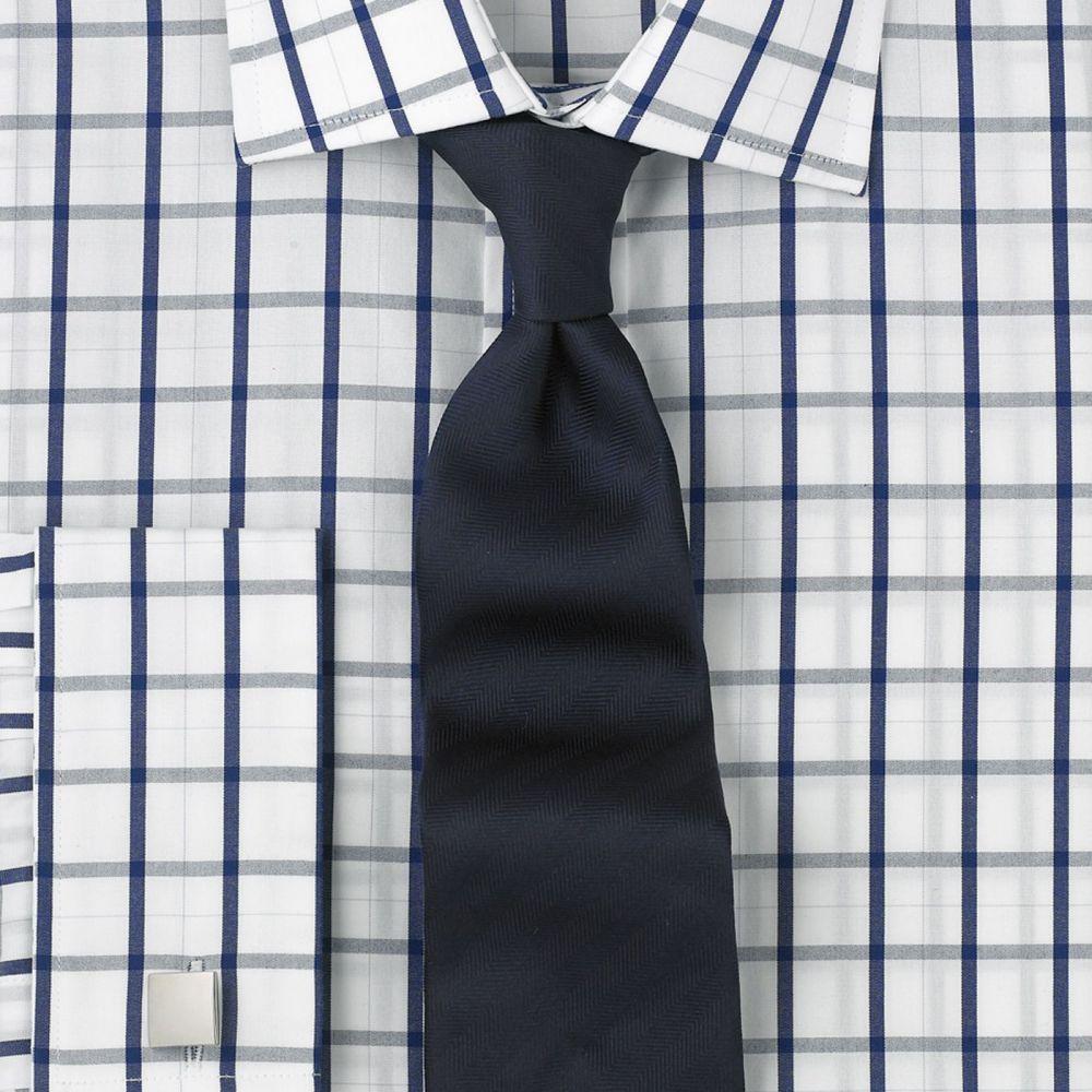 b5d8effb5f9 Рубашка мужская под запонки белая в темно-синюю клетку T.M.Lewin  приталенная Slim Fit