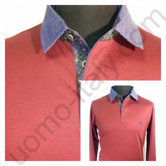 Рубашка-поло бордовая с длинным рукавом