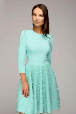 Платье мятного цвета длины мини с декоративной отделкой и рукавами 3/4 (DM00926MN)