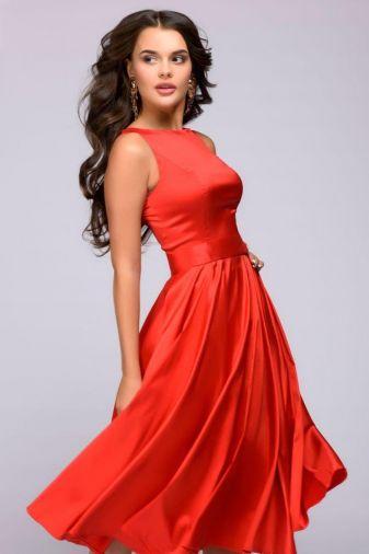 Платье красное длины миди в стиле ретро (DM01009RD)