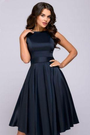 Платье темно-синее длины миди в стиле ретро (DM01009DB)