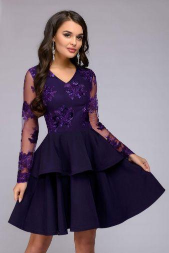 Платье фиолетовое длины мини с длинными рукавами (DM01123DP)