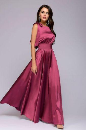 Платье ягодного цвета длины макси без рукавов (DM00541BE)