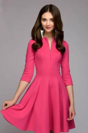 Платье цвета фуксии длины мини с рукавами 3/4 (DM00679FA)