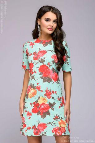 Платье мятного цвета длины мини с цветочным принтом и короткими рукавами (DM00395MN)