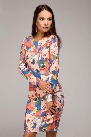 Платье-футляр с оригинальным принтом и длинными рукавами (DM00890MC)