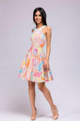 Платье длины мини с красочным принтом и вырезом на спинке (DM00805FL)