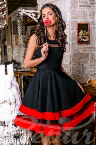 Пышное платье-миди (16038)