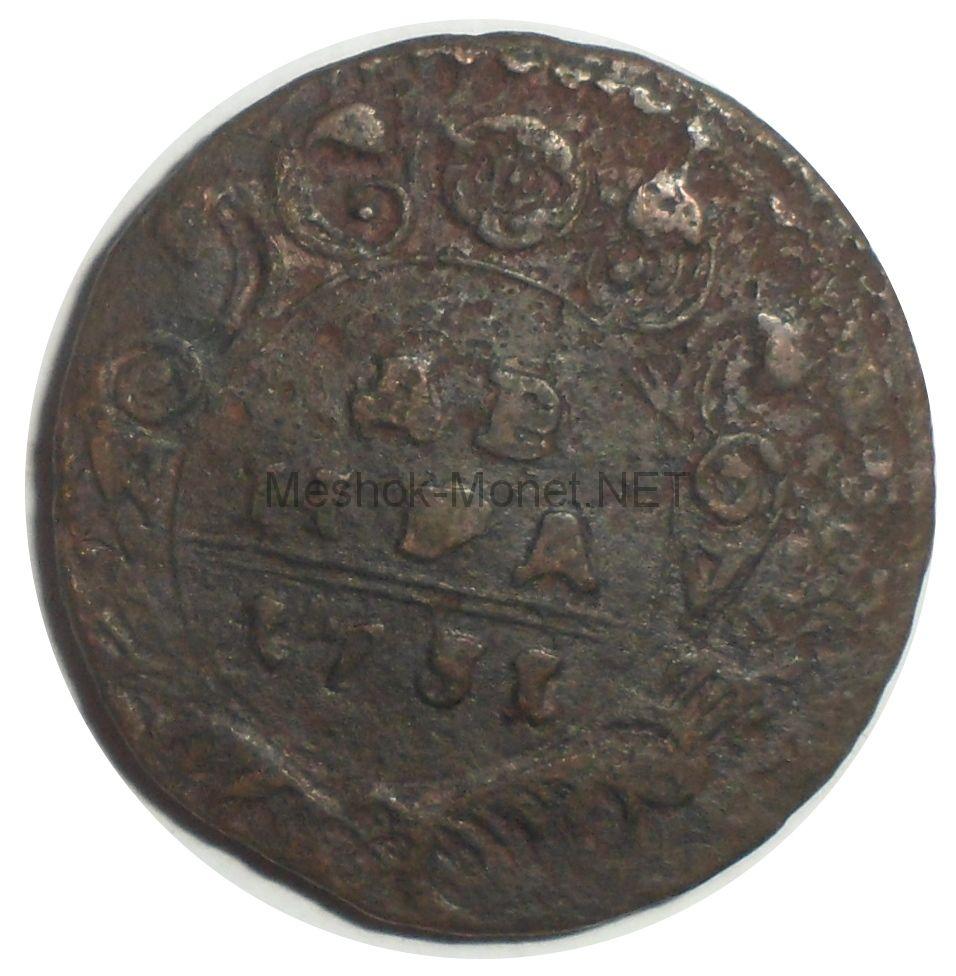 Денга 1731 года. Перечекан с копейки Петра. # 2