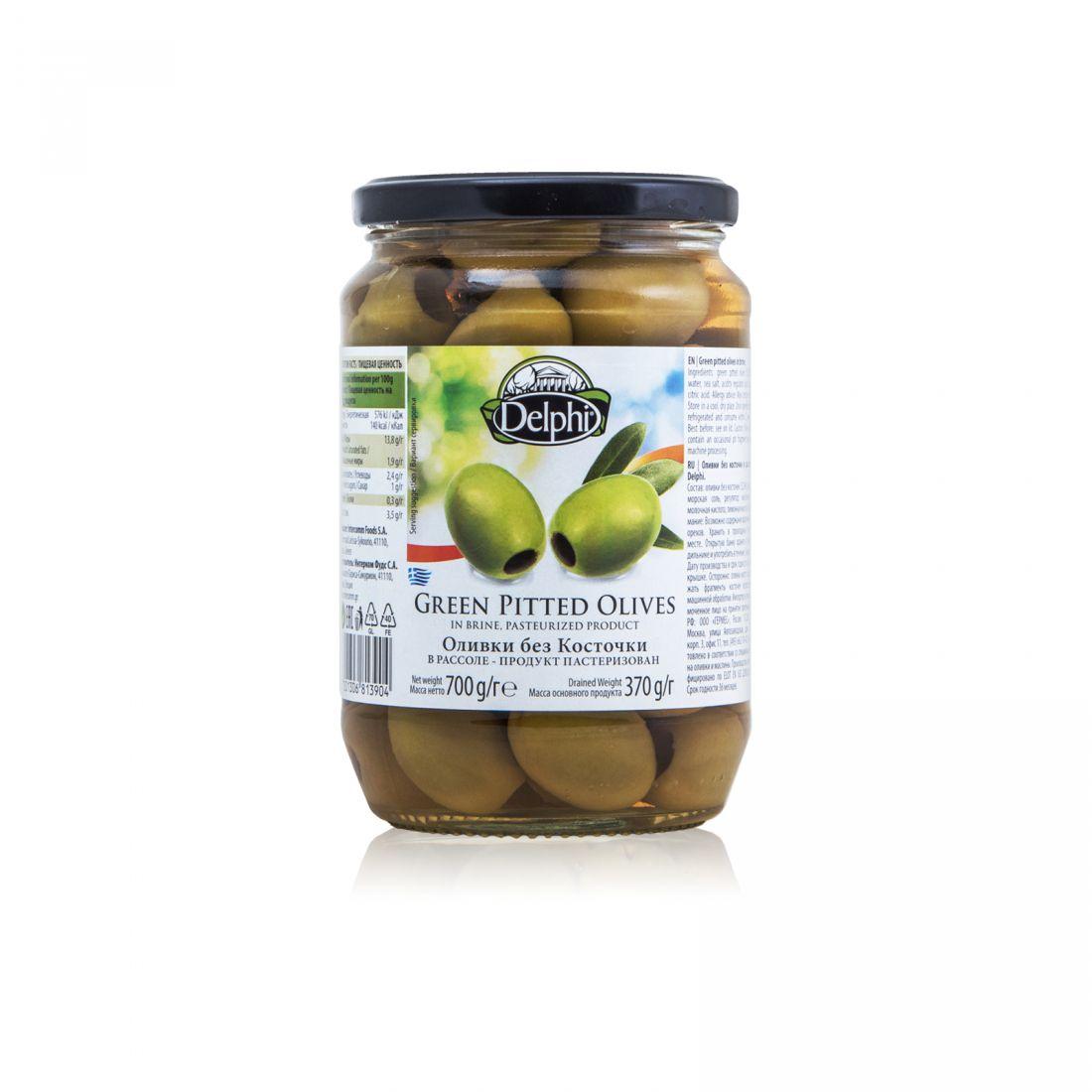 Оливки зеленые Delphi - 700 гр без косточки в рассоле, стекло