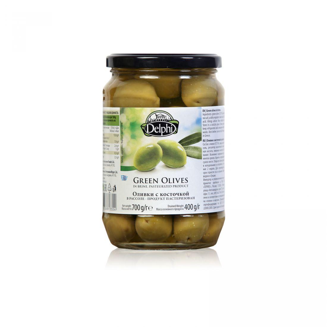 Оливки зеленые Delphi - 700 гр с косточкой в рассоле, стекло