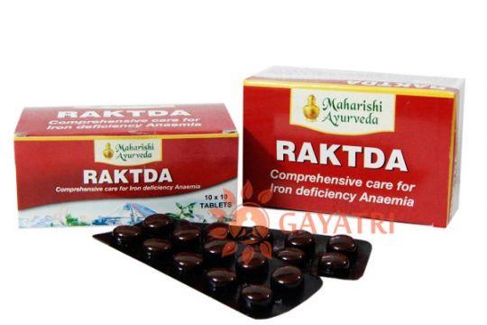 """Препарат для стимуляции и очистки кровообразования""""РАКТДА """" 100 таб, производитель Махариши Аюрведа; Raktda, 100 tabs, Maharishi Ayurveda"""