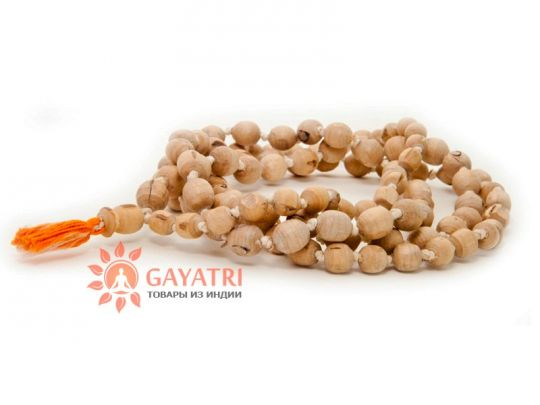 Чётки из дерева Туласи. 108 бусин, круглые, 5-10 мм ,изготовленные во Вриндаване ( Индия)
