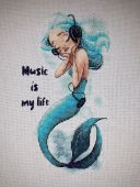 """Схема для вышивания крестиком """"Music Is My Life"""". Отшив."""