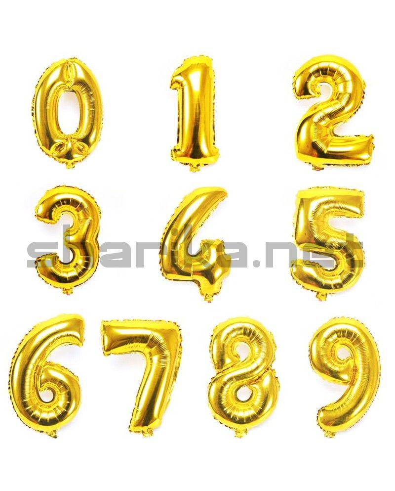 Шар цифра золото (40 см) НЕ ЛЕТАЕТ