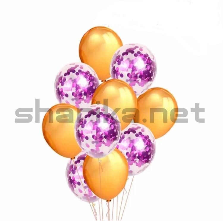 Композиция из золотых шариков с конфетти