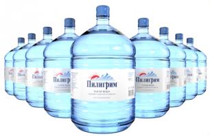 Вода Пилигрим 9 бутылей по 19 литров, пэт.
