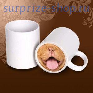 Кружка с цветным дном собака с языком