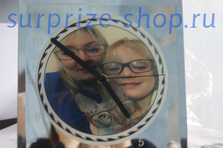 Часы настольные стеклянные  зеркало SC-14 20*20см