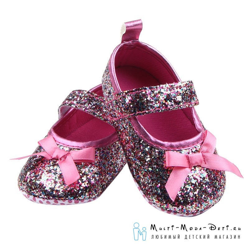 Пинетки/тапочки на мягкой подошве с блестками для девочки (розовые)