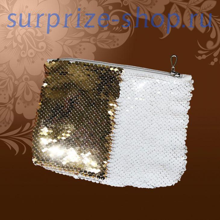 Косметичка пайеточная, золото,15*20 см