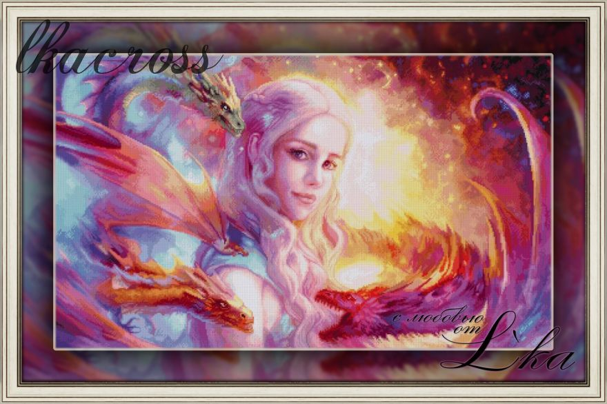 """Daenerys"". Digital cross stitch pattern."