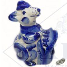 Гжель Символ Года 2020 ОПТОМ - Крыса с чемоданом 13х9х6,5