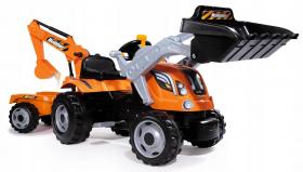 Трактор-экскаватор Smoby с прицепом