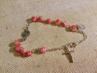 Розарий-декада из муранского стекла на металлической основе в форме браслета с застёжкой