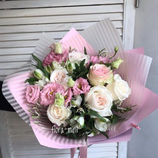 Букет цветов Розовое счастье