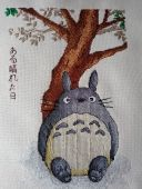"Cross stitch patterns ""Totoro"" and ""Spirited away""."