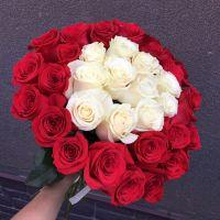 35 бело-красных роз 60 см
