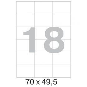 73626 / 641810  Этикетки самоклеящиеся Mega label белые 70х49.5 мм (18 штук на листе А4, 100 листов в упаковке)