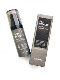 THE SAEM GEM MIRACLE BLACK PEARL O2 BUBBLE MASK 10g - маска кислородная с экстрактом жемчуга