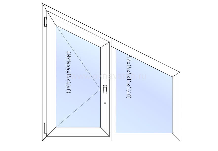 Окно REHAU 1200х1200 Скошенное /Поворотное