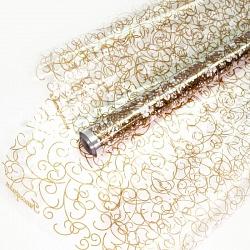 Упаковочная пленка (0,7*8 м) Гипсофила, Золото/Белый, 1 шт.