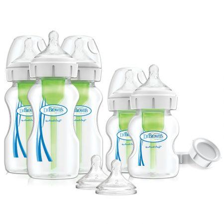 """Dr.Brown's Natural Flow® Набор для Новорожденного из бутылочек с широким горлышком """"Options+"""" (3 х 270 мл, 2 х 150 мл), 2 соски от 3-х мес., 2 крышки и 3 ёршика для вент.системы, полипропилен, (арт.WB09600)"""