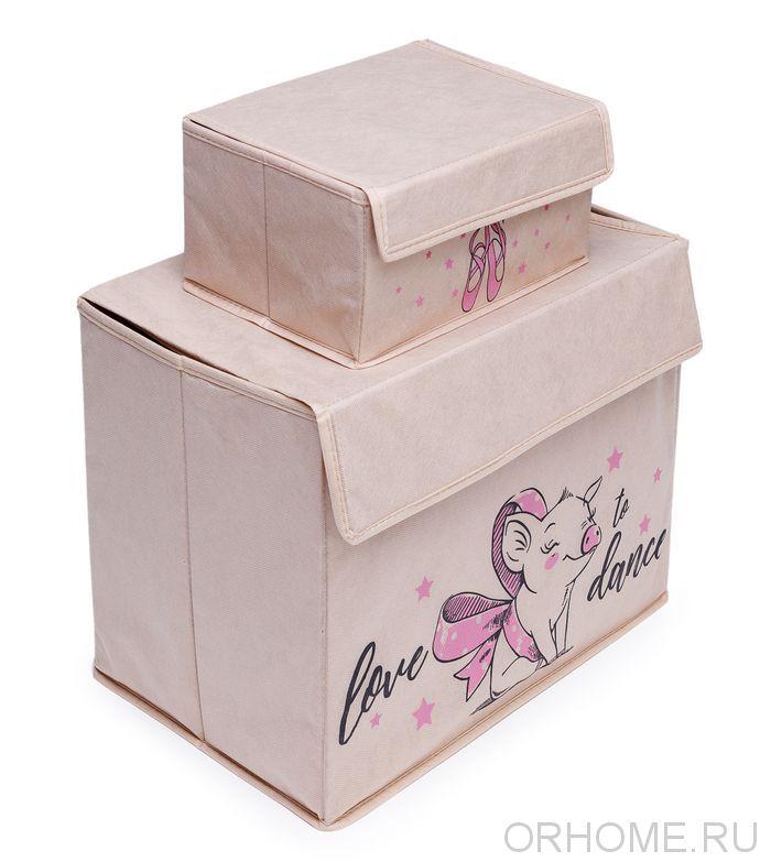 Комплект из 2-х коробок с крышками и ярким принтом