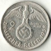 2 рейхсмарки. 1938 год.  D. Серебро.