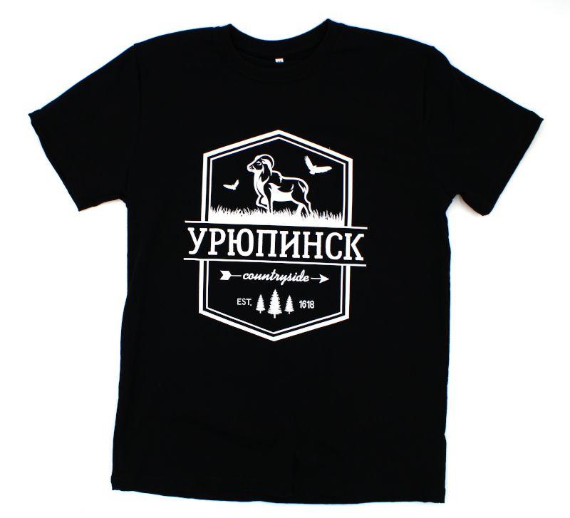 """Футболка """"Бренд Урюпинск"""" коза черная хлопок"""